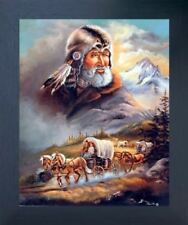 Western Covered Wagon Cowboy Living Room Wall Art Decor Espresso Framed Picture