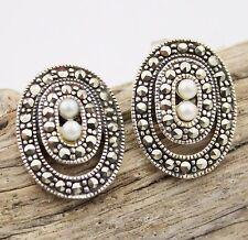 Earrings Vintage Silver Sterling 925 Marcasite Pearl Pierced Jewellery Retro