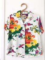 JAMS WORLD Vintage Size XS White Floral Short Sleeve Button Front Rayon Shirt