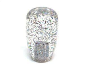 JDM Retro 90mm Silver/Rainbow Glitter shift knob gear knob - 12x1.25