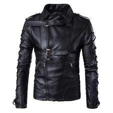 Moda Hombres Motocicleta Imitación Cuero Chaqueta de Abrigo Prendas de abrigo Punk Biker decadente Tamaño