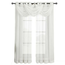 Abri Grommet Crushed Sheer White Curtain, Single 100% Polyester Window Panel