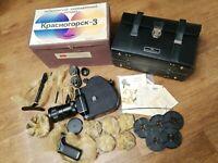 Krasnogorsk-3, USSR, 16mm Semi Automatic Mechanical Cine Camera. NEW! FULLSET!