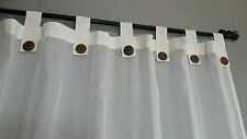 Bali Natural Cotton Cream Tab Curtains Muslin 133 cm x 240 cm (Pair)