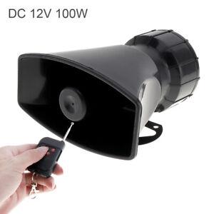 Car Warning Alarm Megaphone Siren Horn 100W 12V 7 Sound Loud Speaker w/ Remote