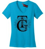 Trust God Religious Ladies V-Neck T Shirt Christian God Prayer Faith Tee Z5