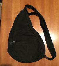 "AmeriBag Healthy Back Bag Shoulder Bag Purse Black Nylon USA Made Small 17"""