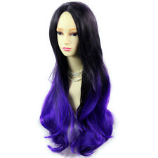 Amazing Black Brown & Purple Long Wavy Lady Wig Dip-Dye Ombre Hair From WIWIGS