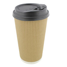 Lot45 Paper Cups with Lids, 100 Pk - 16 oz Coffee Cups Rippled Sleeve, Brown