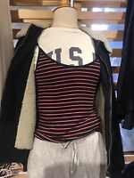 brandy melville red//wthie striped ribbed scoopneck bonnie tank top NWT S//M