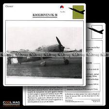 #043.15 KOOLHOVEN FK 58 - Fiche Avion Airplane Card