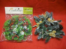2 VELVET BERRIES & GLITTER PINE CONE CANDLE RINGS VINTAGE CHRISTMAS COLLECTIBLES