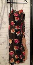 Krizia Dress 100% Silk Black Floral Long Side Slit Beige Layer SZ IT 46/ 8 $900