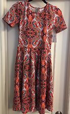 NWT Lularoe Amelia Dress XS Extra Small Paisley Scroll Coral Orange Red Blue 🦄