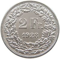 SWITZERLAND 2 FRANCS 1928 TOP #t123 043