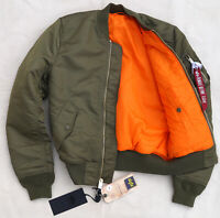 ALPHA INDUSTRIES MA-1 Slim Flight Jacket Bomber Reversible Vintage Olive Mens XS