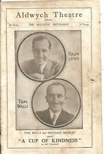 """GENUINE VINTAGE ALDWYCH THEATRE PROGRAMME,RALPH LYNN """"A CUP OF KINDNESS""""1929"""