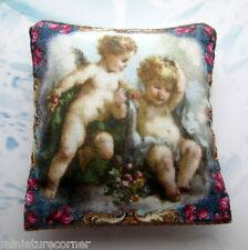Dolls House Cushion Printed on Cotton Cherubs Miniature 4 x 4 cm 1/12th #11B