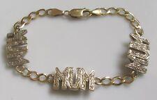 "Secondhand 9ct Yellow Gold Multi Cubic Zirconia ""MUM"" Bracelet (7.5inches)."