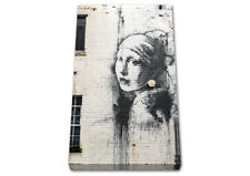 Banksy Girl Pearl Earing Canvas Wall Art Picture A4 A3 A2 A1 Print Ready To Hang