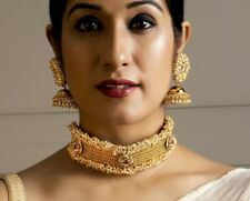 Indian Latest Gold Plated Choker Necklace Earrings Set Bollywood Fashion Jewelry