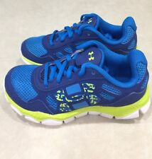 "UNDER ARMOUR ""Engage"" Youth Two-Tone Blue & Bright Yellow Sneakers~~Size 11K"