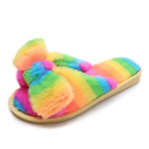 Sweet Lady Rainbow Faux Fur Bow Fluffy Slip On Slippers Furry Flats Home Shoes