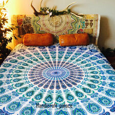Indian Boho White Mandala Tapestries Psychedelic Wall Hanging Throw Bedspread