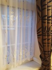 LEAF DESIGN EMBROIDERED VOILE NET  MADE TO MEASURE CURTAINS WHITE