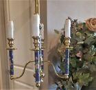 BEAUTIFUL VINTAGE BLUE ENAMELED GILT BRASS CHAMPLEVE CHANDELIER ROSES REGENCY