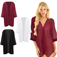 Women Chiffon Shawl Cardigan Bolero Shrug See Through Long Sleeve Beach Cover Up
