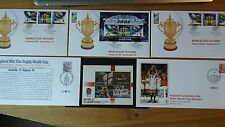 2003 RUGBY UNION WORLD CUP WINNERS ENGLAND x 5 FDC + MINIATURE SHEET