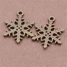 20pc Antique Bronze Snowflake Pendant Charms Bead Jewellery Accessories GP214