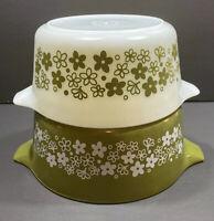 Vintage Retro Pyrex Set Of Two Nesting Bowl Spring Blossom Green & White Floral