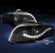FOR 2005-2009 AUDI A4 S4 B7 DRL LED PROJECTOR HEADLIGHT HEADLAMP LAMP BLACK PAIR