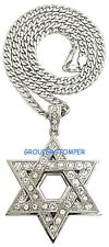 Star Of David Necklace New Large Pendant with Rhinestones on Cuban Link Chain