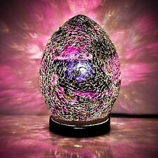 Fabulous Mini Mosaic Glass Crackle Purple/Black Egg Table Lamp ,Desk ,Bedside