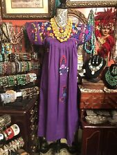 Absolutely Beautiful Vintage Deep Purple Oaxacan Mexican Embroidered Dress M