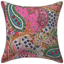 "Handmade Paisley Sofa Cushion Cover Kantha Pillow Case Cover Decor 16"" Throw"