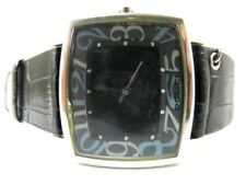New Police Square Quartz Watch Analogue Black Dial Leather Strap Ladies