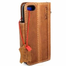 genuine natural leather case for iphone SE 5s 5c 5 book wallet cover handmade uk