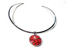Bijoux collier acier stainless pendentif émaillé sur torque necklace