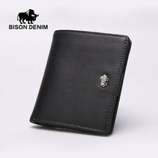 BISON DENIM Genuine Leather Small Card Holder Mens Slim Wallet Mini Coin Purse