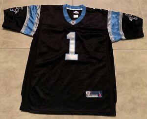 Cam Newton 1 Carolina Panthers Black w/ Blue Sewn Jersey Reebok NFL Youth L