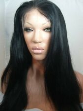 Beautiful Human Hair Blend Yaki Full Lace Front Wig 20-24inch