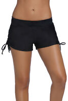 Women Drawstring Adjustable Long Swim Shorts Trunks Bottoms Board Beach Swimwear