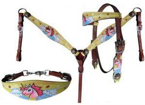 Flying Unicorn  Pony Leather Tack Set Wither Strap Small / Medium Pony WOW !