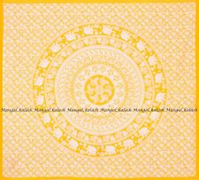 Indian yellow elephant mandala cotton wall hanging bedspread queen size tapestry