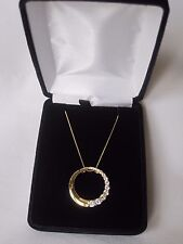 Sterling Silver Gold Vermeil Pendant Necklace with Clear CZ Accents, NIB