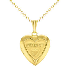 Gold Tone Sweet Love Heart Small Locket Girls Kids Pendant Necklace 16""